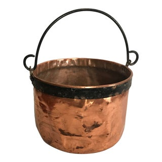 Antique French Copper Hearth Pot With Iron Handle For Sale