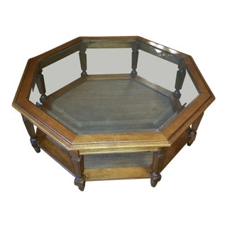 Vintage Mid-Century Modern Octogon Walnut Coffee Table For Sale