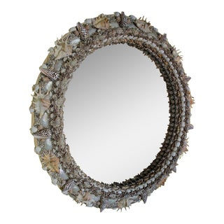 "40"" Round Shell Encrusted Mirror"