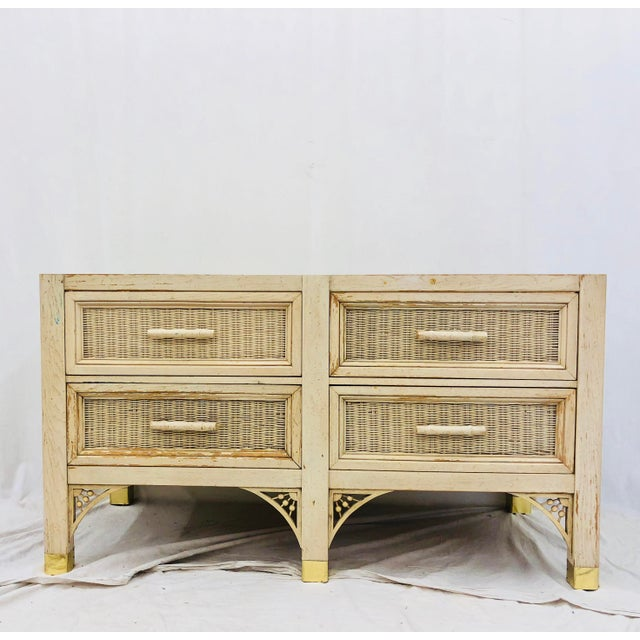 Vintage Faux Bamboo Chippendale Style Hutch For Sale - Image 9 of 13