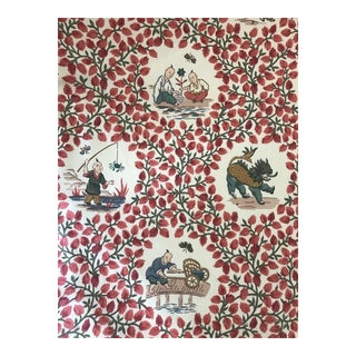 Jay Yang Chinoiserie Red Toile Fabric - 4 Yards