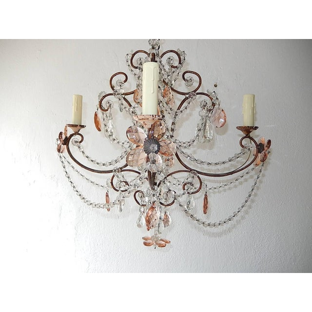 French Pink Maison Baguès Style Crystal Flower Chandelier For Sale - Image 4 of 11