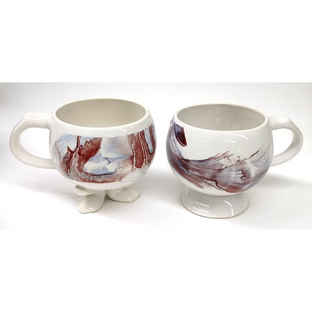 Unique Vintage His and Her Marble Painted Cup Set - a Pair - Image 7 of 7