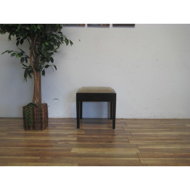 Amtrend Dark Wood Finish/Grey Upholstery Stool - Image 2 of 7
