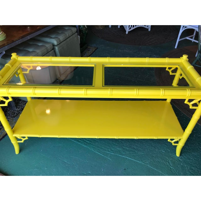 Lacquered Yellow Faux Bamboo and Fretwork Console Table For Sale - Image 11 of 13