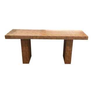 Vintage Herringbone Bamboo Console Table For Sale