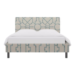 Queen Tailored Platform Bed in Blue Baldwin Bamboo By Scalamandre For Sale