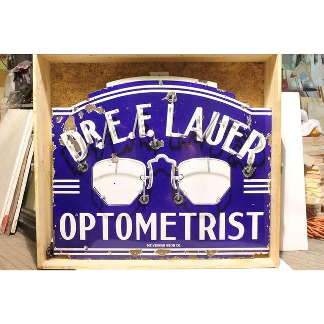 "Rustic 1930's Vintage Original ""Optometrist"" Neon Sign For Sale - Image 3 of 3"