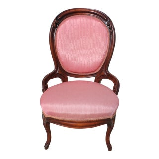 Carved Mahogany Victorian Upholstered Ladies Accent Chair For Sale