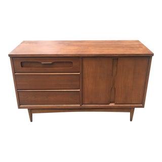 Bassett Mid-Century Walnut Compact Credenza Cabinet Dresser
