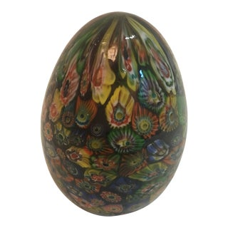 1950s Vintage Murano Millefiore Glass Egg Paperweight For Sale