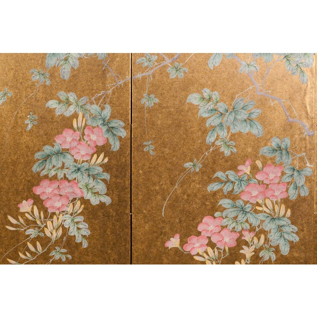 """""""Sparrows With Cherry Blossom"""" 4-Panel Paint on Gold Foil Chinoiserie Hanging Screen For Sale In Seattle - Image 6 of 11"""