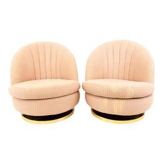 Mid Century Vintage Milo Baughman Brass Base Swivel Barrel Chairs - A Pair For Sale