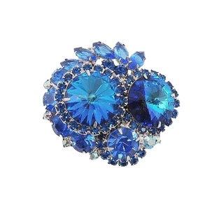 1960s Delizza & Elster Blue Rivoli Rhinestone Brooch For Sale
