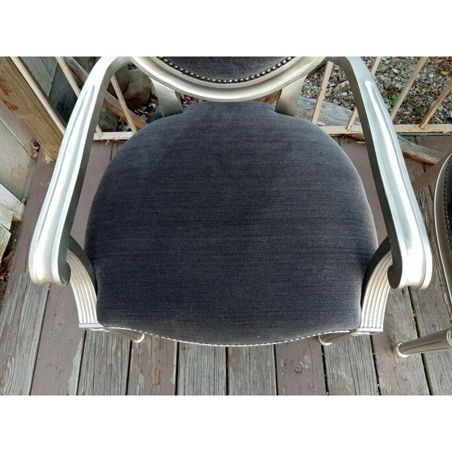 Charcoal Bernhardt Louis Arm Chairs - a Pair For Sale - Image 8 of 13