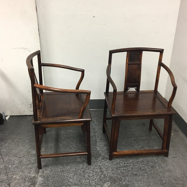 Chinese Rosewood Arm Chairs- A Pair - Image 8 of 9