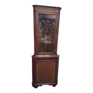 Vintage Wooden Display Corner Cabinet For Sale