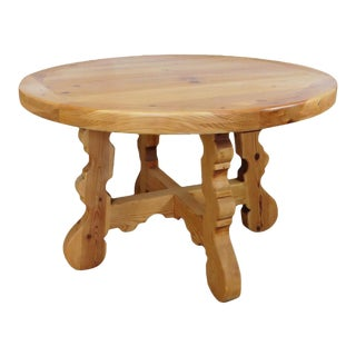 "Rustic & Primitive 48"" Round Knotty Pine Tavern Dining Room Table For Sale"