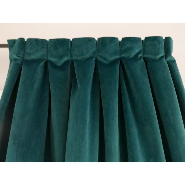 Custom Blue Green Velvet Curtains - a Pair For Sale - Image 4 of 6