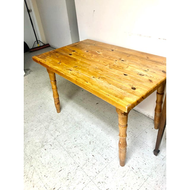1960s Vintage Farmhouse Small Pine Table /Island For Sale - Image 5 of 10