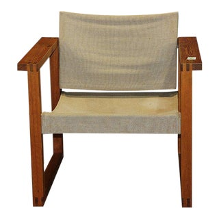 1970s Finland Modern Sling Chair With Oak Plank Arms For Sale
