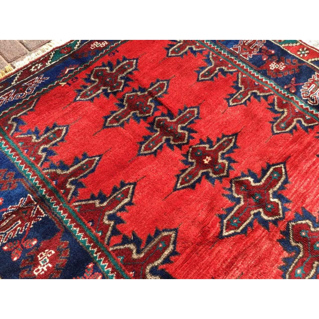 Red & Navy Vintage Hand Knotted Turkish Rug For Sale In Raleigh - Image 6 of 9