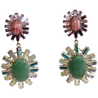 Philippe Ferrandis Glass Cabochon and Swarovski Crystal Drop Clip Earrings For Sale