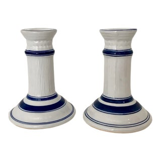 Vintage Blue and White Ceramic Candlesticks For Sale