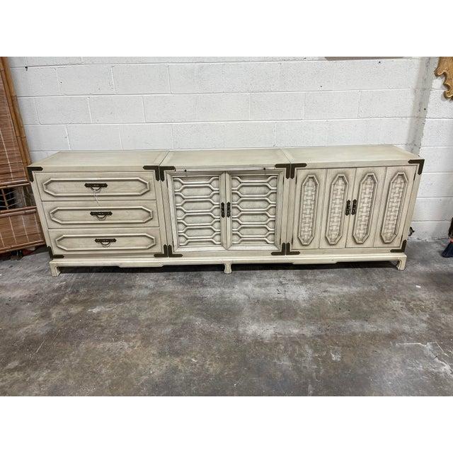 Monumental Thomasville Regency Style White Wash Credenza For Sale - Image 4 of 11