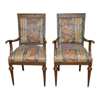 French Style Chairs With Brass Ormolu - a Pair