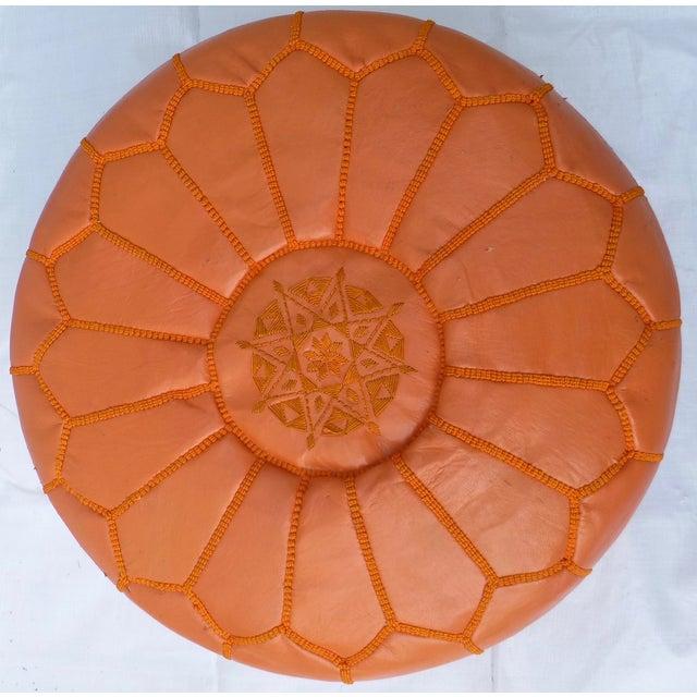 Mid Century Modern Orange Ottoman - Image 2 of 11