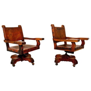 Pair of Mexican Office Chairs For Sale