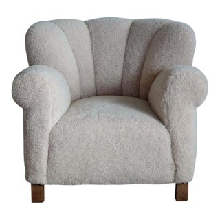 Large Size Club Chair in Lambswool Model 1518 by Fritz Hansen, Denmark, 1940s For Sale
