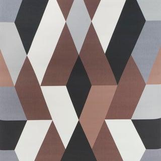 Sample - Schumacher X Clements Riberio Deco Diamonds Wallpaper in Carbon For Sale