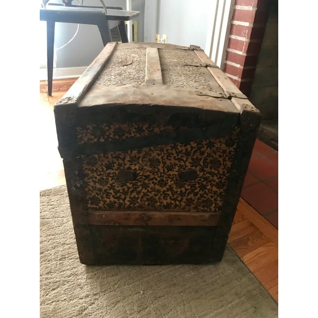 Rustic Antique Palica Common Sense Wood Trunk For Sale - Image 3 of 8