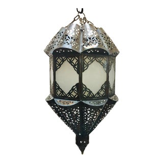 Moroccan Handcrafted Moorish Pendant Frosted Glass Lantern For Sale