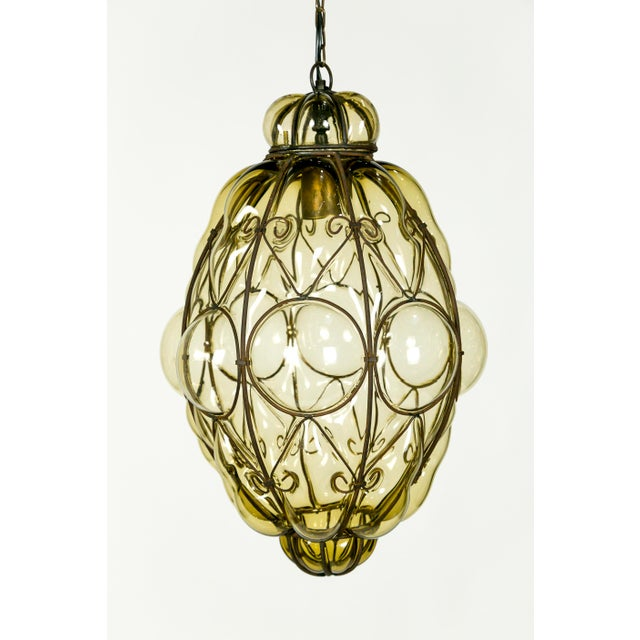 Italian Iron Wire & Blown Glass Pendant For Sale - Image 4 of 13