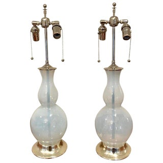 Opalesent Murano Glass Lamps on White Gold Turned Wood Bases - a Pair For Sale