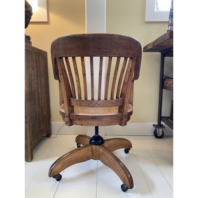 Classic Mid-Century Banker's Desk Chair For Sale - Image 4 of 7