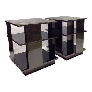 Pair Milo Baughman Style 3 Tier Chrome & Black Glass End Tables For Sale