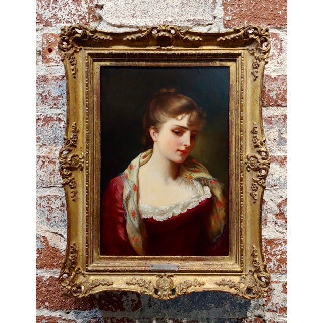 """19th Century Gustave Jean Jacquet """"Portrait of an Elegant Young Lady"""" Oil Painting For Sale - Image 11 of 11"""