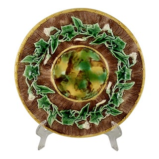 English Majolica Morning Glory Vine & Bark Footed Cheese Tray