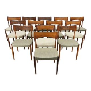 Set of 13 Bernhard Pedersen + Søn Rosewood Dining Chairs For Sale