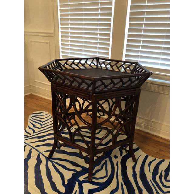 Chinoiserie 1960s Burnt Bamboo Rattan Tray Table For Sale - Image 3 of 9