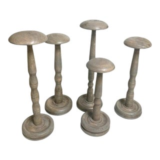 Vintage French Collection of 5 Shabby Chic Farmhouse/Cottage Hat Stands/Display French Haberdashery For Sale