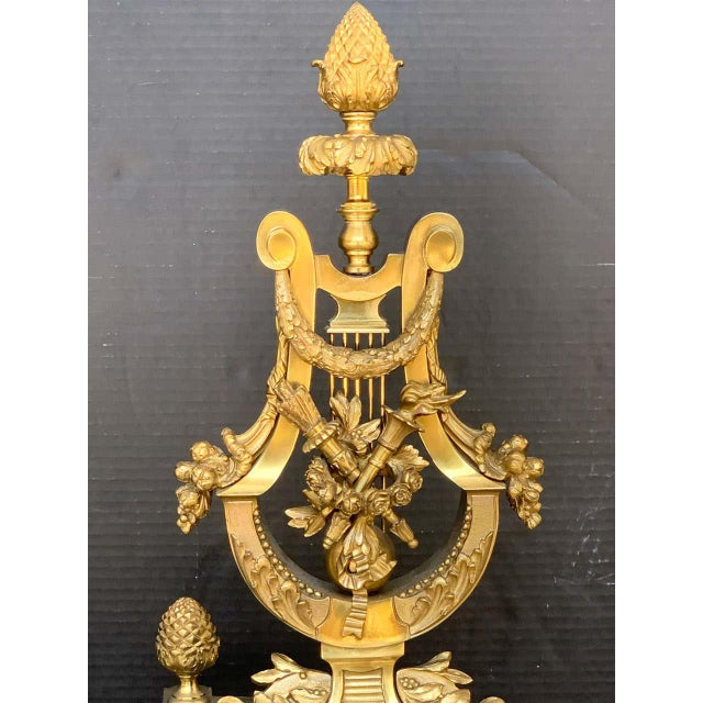 Bronze Gorgeous Pair of Louis XVI Style Gilt Bronze Lyre Motif Chenets, Large Scale For Sale - Image 8 of 13