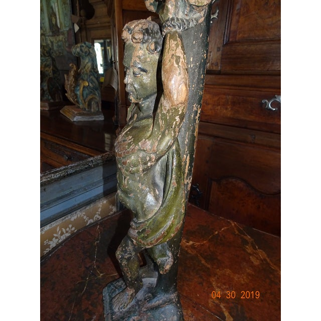 Italian Carved Wood Statue For Sale - Image 9 of 11