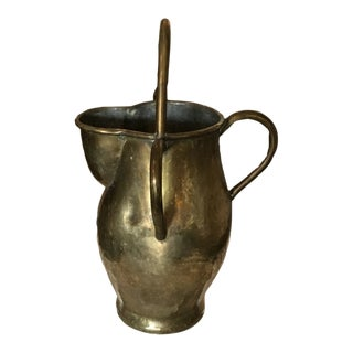 Mid 20th Century Vintage Hammered Brass and Copper Pitcher For Sale