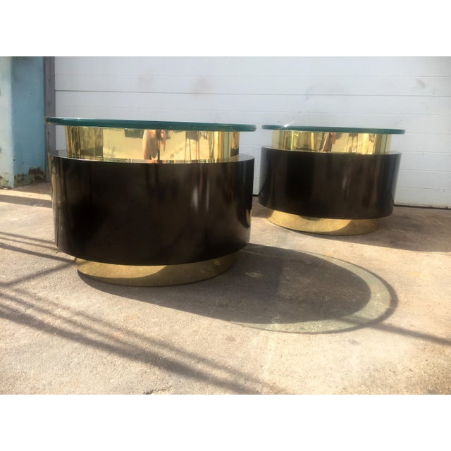 Hollywood Regency Gold & Black Tables - A Pair For Sale - Image 3 of 9