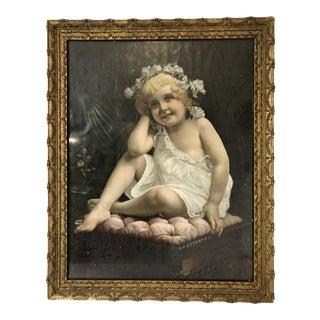 Victorian Angel Cherub Baby Portrait Early 20th C. For Sale